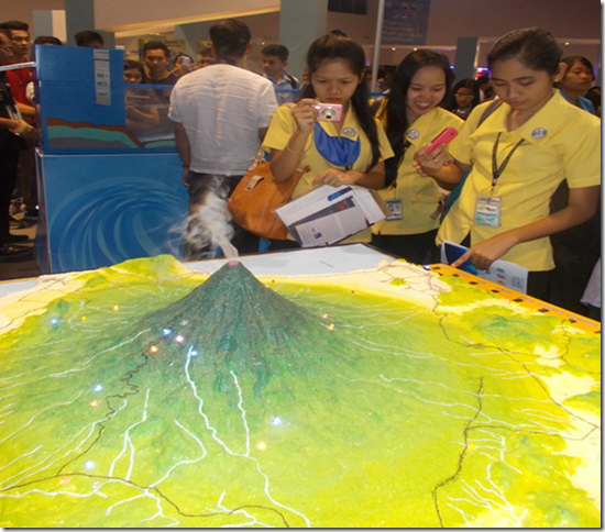 DOST shows a volcano spewing smoke during the NSTW Exhibit